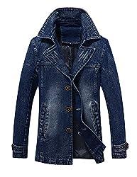Idopy Men`s Vintage Label Collar Denim Jeans Jacket Trench Coat Blue Us M Asian 2xl