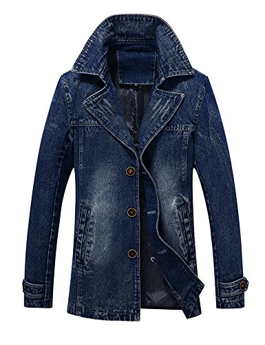 Idopy Men`s Vintage Label Collar Denim Jeans Jacket Trench Coat (US XL, - Jacket Short Trench