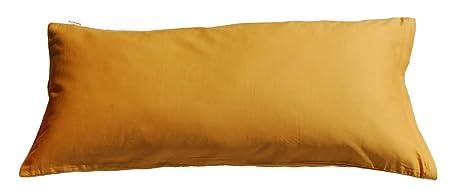 60663ab662 beties Mako Satin Kissenbezug 40 x 80 cm in 9 eleganten Uni Farben Gold-Gelb