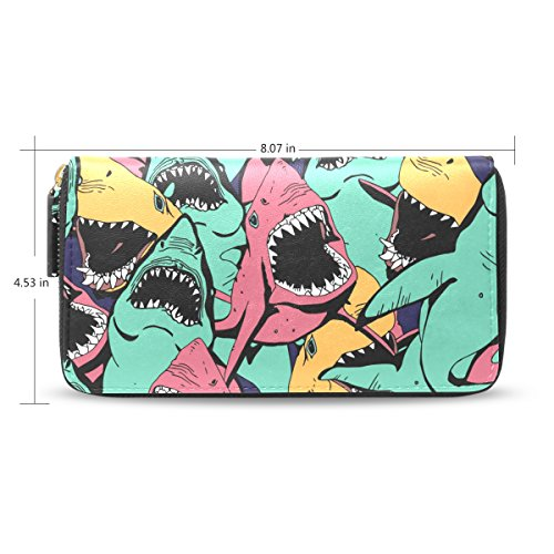 Zipper Clutch Money Wristlet Passport HandBag Multi1 Long Organizer Purses Shark Wallet fZqpRwf