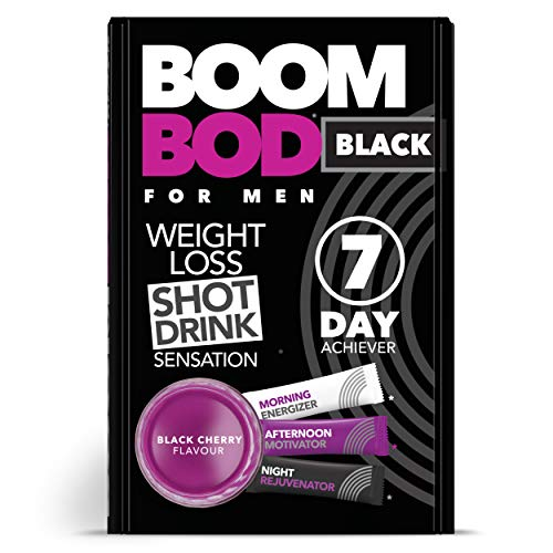 Boombod Weight Loss Shot Drink, Glucomannan, High Potency, Diet and Exercise Enhancement, Promote Fat Loss, Keto and Vegan Friendly, Sugar and Aspartame Free, Gluten-Free - Black Cherry Flavor (Day Shot)
