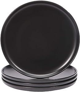 BonNoces Matte Black Porcelain Dinner Plate Dessert Plate, 8-Inch Elegant Round Serving Plate Set for Steak, Pasta, and Salad, Set of 4