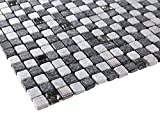 Dark Grey and Light Grey Luxury Square Pebble Stone with Stainless Steel Mosaic Tilesl for Bathroom and Kitchen Walls Kitchen Backsplashes (Free Shipping)