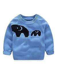 SPRMAG Little Boy Cartoon Animals Sweater Knit Crew Neck Pullover