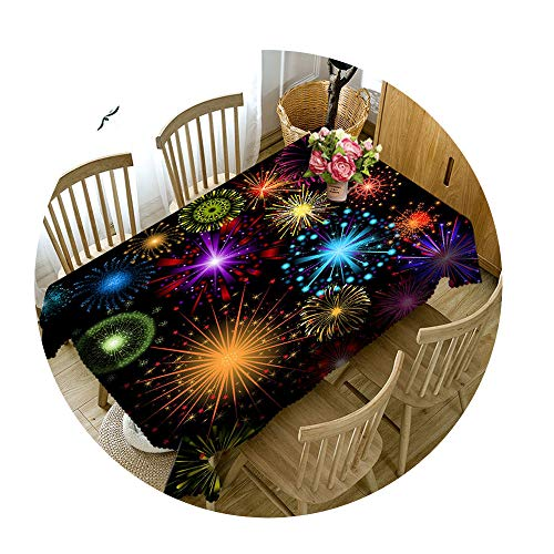 COOCOl Great 3D Tablecloth Christmas Color Line Fireworks Washable Cloth Thicken Rectangular Round Table Cloth,F,90 X 90Cm ()