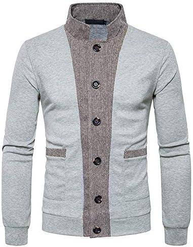 SXZG Blusa de Los Hombres de Moda Cardigan de Punto Multicolor Versátil Costuras de Punto Cardigan: Amazon.es: Ropa y accesorios