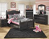 Jaidyn Youth Wood Poster Storage Bed Room Set in Rich Black Finish, Full Bed, Dresser, Mirror, 2 Nightstands