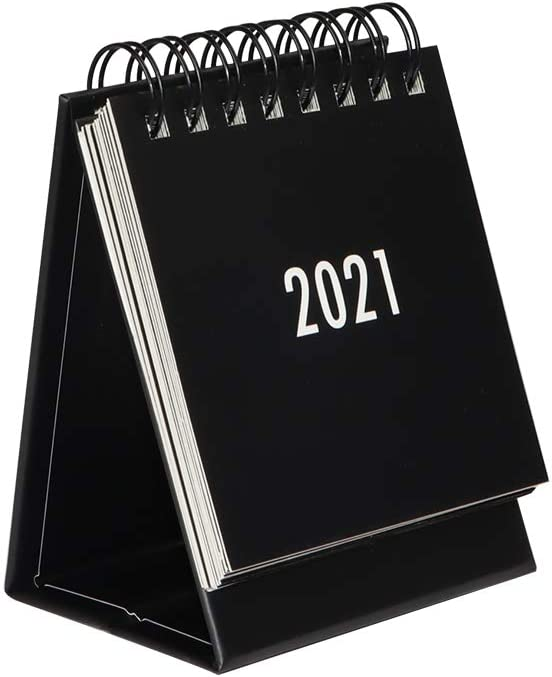 2020-2021 Yearly Mini Desk Calendar Steel Coil Spiral Table Desktop Self Standing Easel Flip Calendar Pad 3.7 x 2.95 Inches (Black)