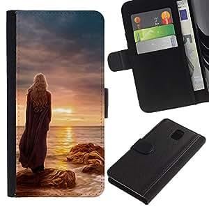 LECELL--Cuero de la tarjeta la carpeta del tirón Smartphone Slots Protección Holder For Samsung Galaxy Note 3 III -- Puesta de sol mujer --