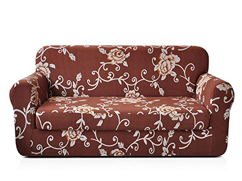 CHUN YI 2-Piece Stylish Printed Polyester Spandex Fabric Loveseat Couch Slipcover Soft Elastic Sofa Cover for 2 Seats Love seat Sofa with Separate Cushion Cover (Coffee Rose) (Loveseat What T Is A Cushion)