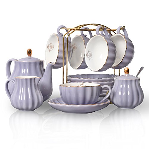 Porcelain Tea Sets British Royal Series, 8 OZ Cups& Saucer Service for 6, with Teapot Sugar Bowl Cream Pitcher Teaspoons and tea strainer for Tea/Coffee, Pukka Home (Milk Purple)