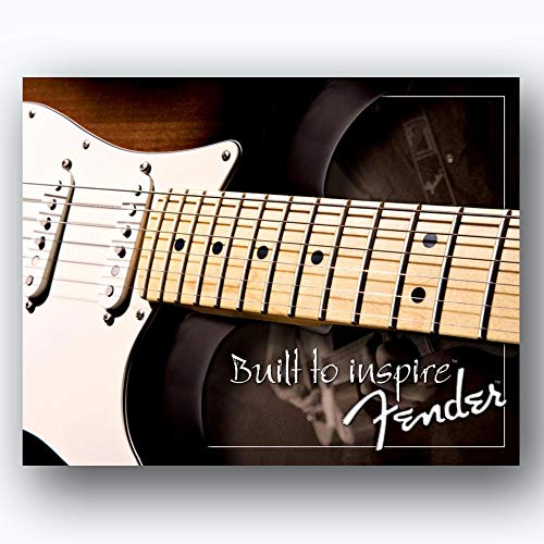 """Fender Guitar- Retro Poster Prints-""""Stratocaster-Built to Inspire""""- Wall Art Set of Two-10 x 8's Music Wall Decor-Ready To Frame. Modern-Distressed Replica's. Home-Bar-Cave Decor. Guitar's Dream Gift."""