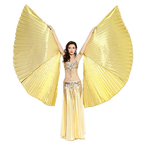 Dance Fairy Isis Wings Belly Dance with Sticks,Gold (Halloween Dance Party Costume Ideas)