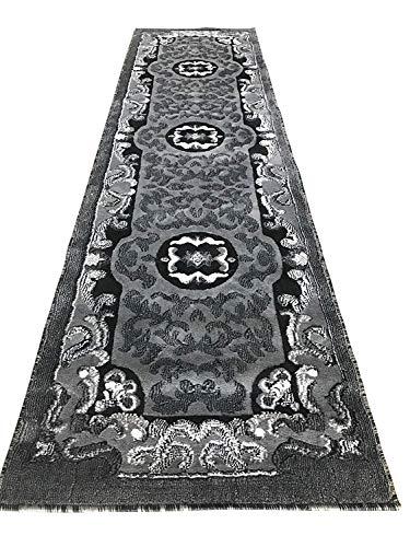 Carpet King Traditional Long Persian Oriental Runner Area Grey Black Silver Gray Design 101 (32 Inch X 19 Feet 8 Inch) (And Carpet Runners Grey Black)