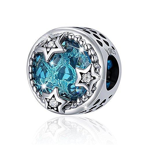 Twinkle Diamond Bracelet - JustM 925 Sterling Silver Charms Diamond Pendant for Charms Bracelet Women Girls DIY jewelry Fit for Enamel Charm Bracelet Necklace (Twinkle Stars)