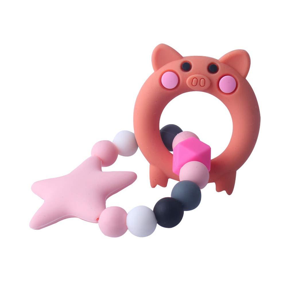 BASSK 1 Set Enfant B/éb/é Sucette Bracelet De Dentition Apaisant Gar/çons Filles Mignon Renard Piggy Forme Color/é Conception Enfants Confort Fournitures