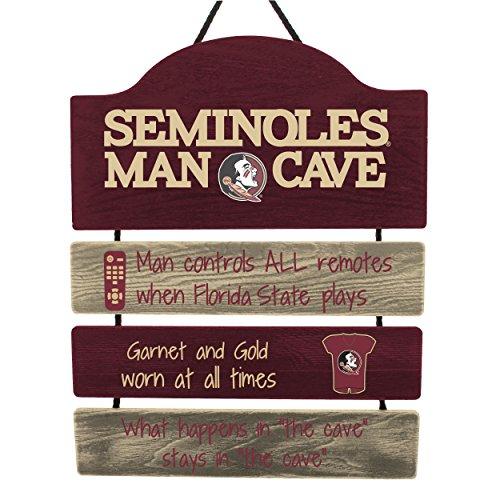 FOCO NCAA Florida State Seminoles Mancave Sign, Team Color, One -