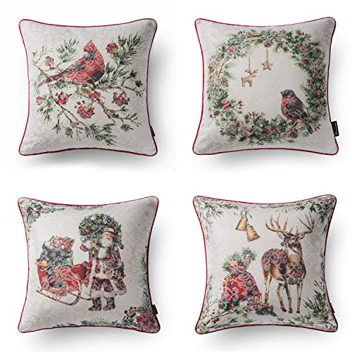 PHANTOSCOPE Set of 4 Merry Christmas 100% Cotton Jacquard Santa Bird Deer Flower with White Background Throw Pillow Case Cushion Cover 18