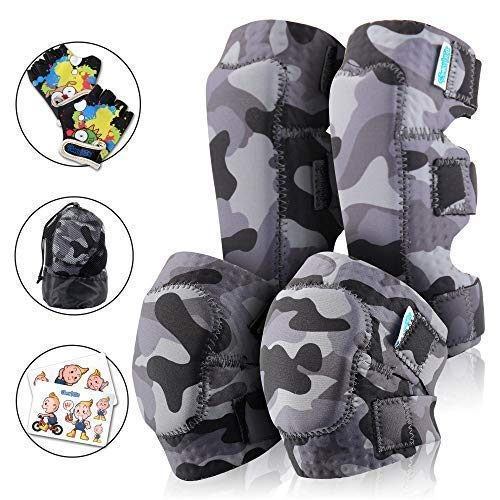 Innovative Soft Kids Knee and Elbow Pads with Bike Gloves   Toddler Protective Gear Set w/Mesh Bag& Sticker   CSPC Certified& Comfort for Children Boys Girls