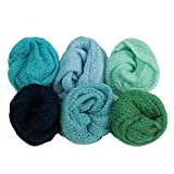 6 Pack Baby Photo Wraps 23.6 x 15.7 inch Newborn Photo Knit Props Green Blue