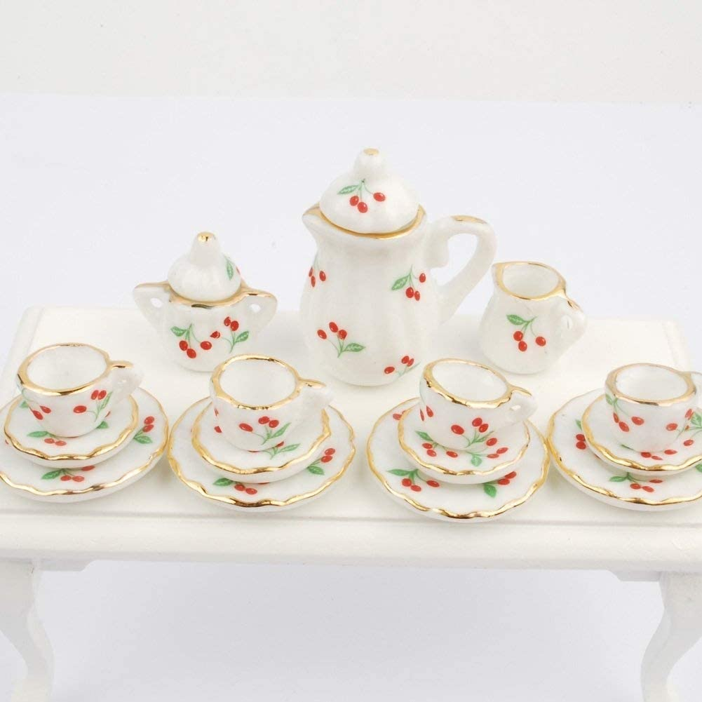 NW 1 Set 15 Pieces Ceramics Tea Cup Set Lovely Dollhouse Decoration Set Dollhouse Kitchen Accessories (#1)