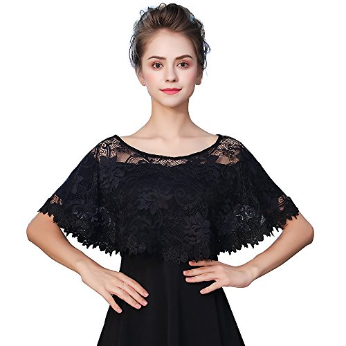 Kanrome Women's Black Embroidered Lace Evening Shawl Wraps Prom Cape Cover Up Party Scarves For Dresses (D)