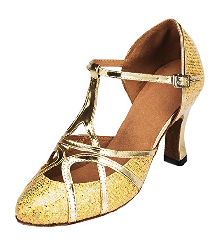 [TDA Womens Mid Heel Glitter Gold PU Leather Salsa Tango Ballroom Latin Party Dance Shoes CM101 7 M US] (Gold Glitter Jazz Shoes)