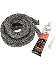"""Stanbroil Graphite Impregnated Fiberglass Rope Seal and High Temperature Cement Gasket Kit Replacement for Wood Stoves - 1/2"""" x 84"""""""