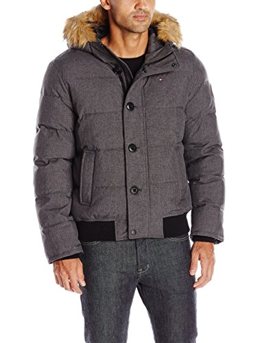 - Tommy Hilfiger Men's Arctic Cloth Quilted Snorkel Bomber with Removable Faux Fur Trimmed Hood, Heather Charcoal, S