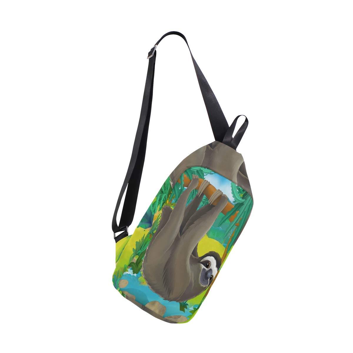TFONE Hippie Funny Animal Sloth Crossbody Bag Lightweight Chest Shoulder Messenger Pack Backpack Sling Bag