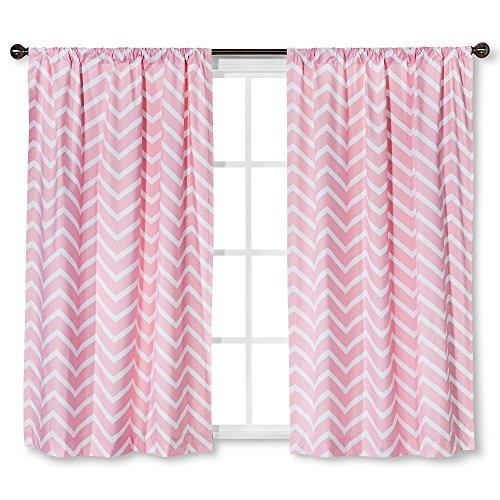 Circo Pink Chevron Light Blocking Window Curtain Panels (1, 95″X42″)