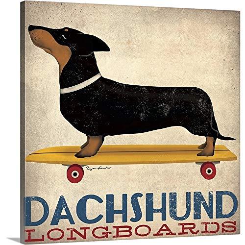 Dachshund Longboards Canvas Wall Art Print, 36 x36 x1.25