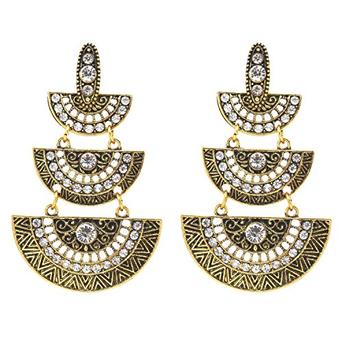 Traditional Indian Gold Jewelry - Crunchy Fashion Bollywood Style Traditional Indian Jewelry Oxidized Silver Dangle and Drop Earrings for Women (Gold Style-2)