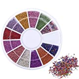 1 Sets 12-Color 0.8mm Multicolor Caviar Beads Nail Art Wheel Mini Bead Grids DIY Decoration Manicure Nails Tools Tips Kits Smart Popular Xmas Christmas Winter Snow Holidays Tool Kit