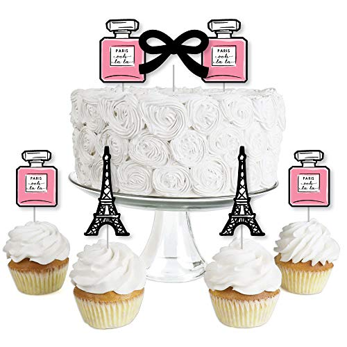 Paris, Ooh La La - Dessert Cupcake Toppers - Paris Themed Baby Shower or Birthday Party Clear Treat Picks - Set of 24 -