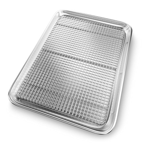 Premium Baking Cookie Sheet Pan with Cooling Rack - Oven Safe 1/2 Hot Roll Flat Steel