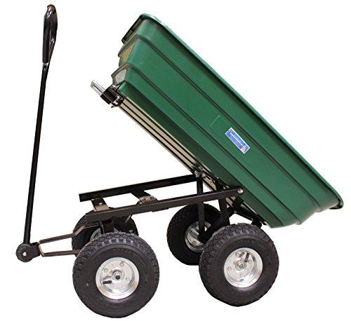 Profi Gartenwagen 75 Liter 300 kg Gartenkarre grün mit Kippfunktion Transportwagen Bollerwagen Schubkarre kippbar