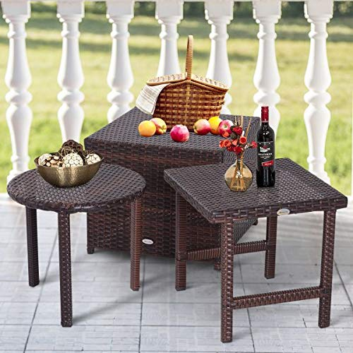 Cube Garden Furniture (Set of 3 Rattan Wicker Stackable Tables Cube Square Round Patio Furniture Coffee Side End Table Food Drinks Outdoor Garden Patio Poolside Space Saving Design Brown)