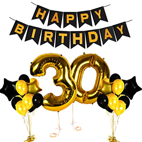 (Treasures Gifted Golden Happy 30th Birthday Party Decorations Numbers Balloons and Photo Booth Props Valentines Bday Foil Banner)