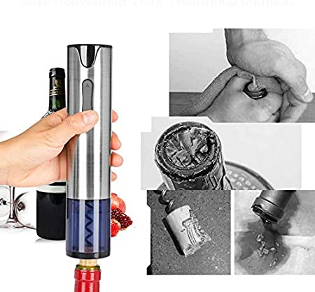 Sacacorchos eléctrico abrebotellas de vino con cable de carga USB de acero inoxidable recargable