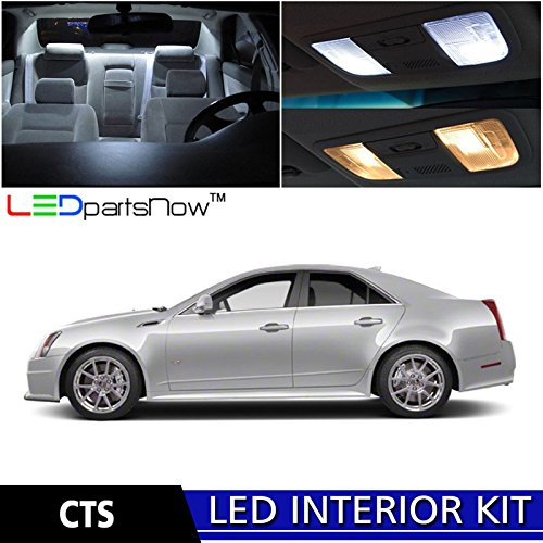LEDpartsNow 2008-2013 Cadillac CTS LED Interior Lights Accessories Replacement Package Kit (13 Pieces), WHITE