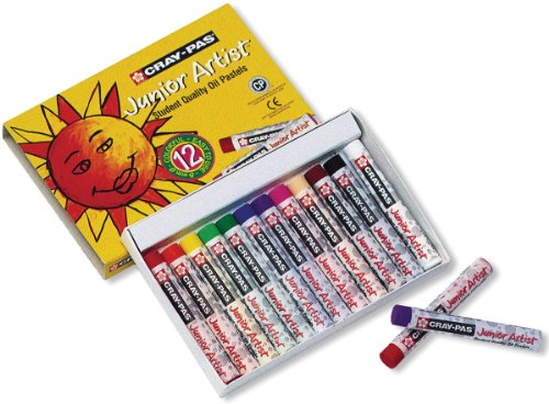12 Piece Pastel - Sakura Cray-Pas Junior Artist Oil Pastels, Assorted Colors, Set of 12