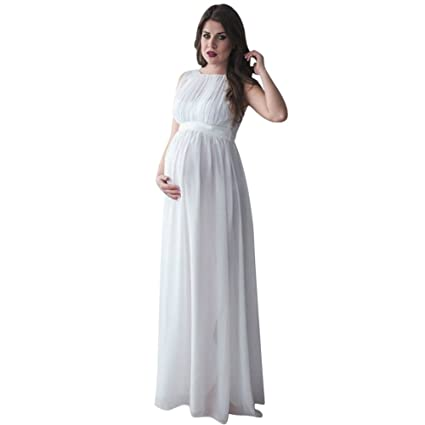 55ce67c9bc64b Smdoxi Long Sleeve Chiffon Gown Maxi Pregnancy Photography Dress for  Photoshoot and Baby Shower Maternity Elegant
