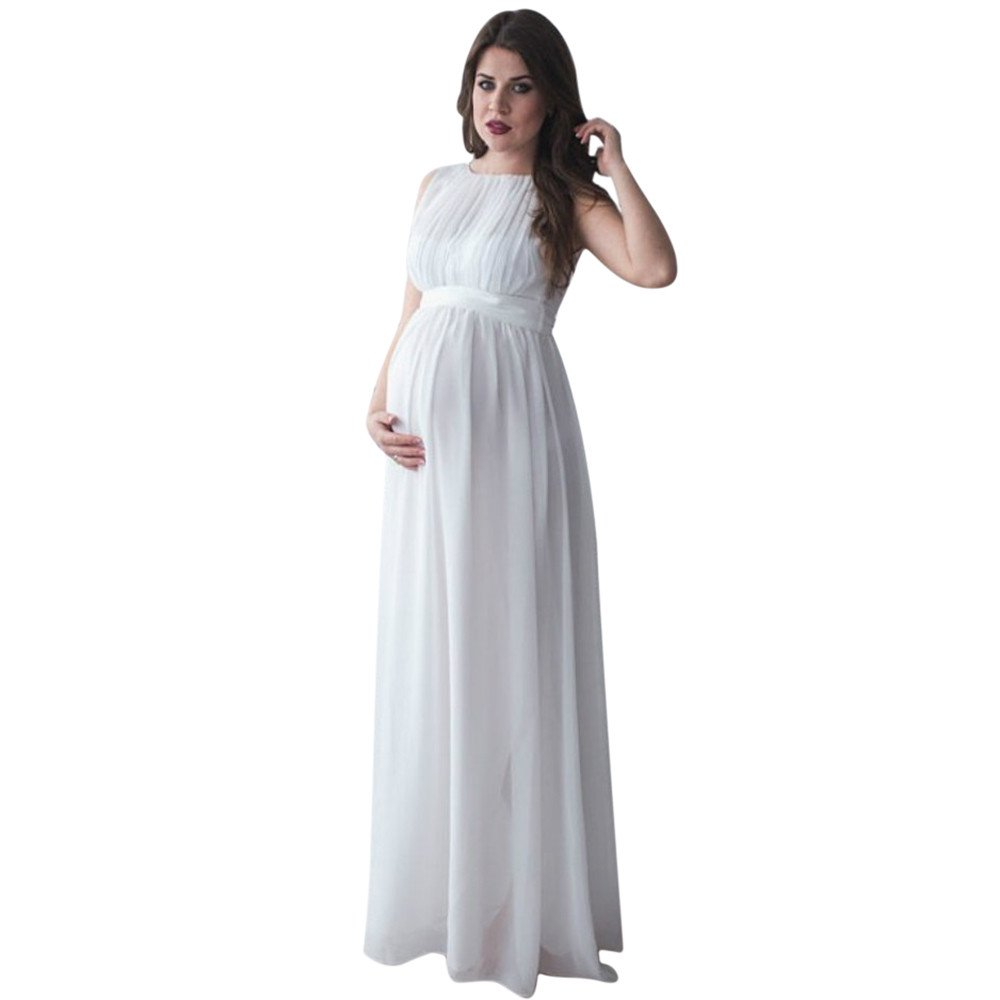 BOOMJIU Pregnant Women Lace Long Maxi Dress Sleevess Maternity Gown Photography Props Clothes White