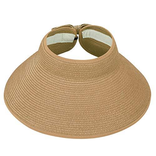HDE Sun Visors for Women Roll Up Hat Beach Shade Sun Hats Packable Straw Cap