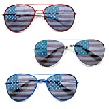 MJ Eyewear American Flag Aviator Sunglasses Glasses