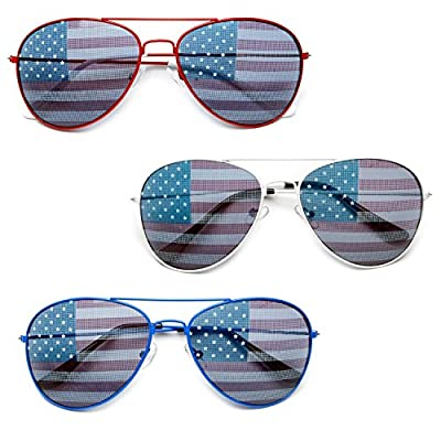 MJ Eyewear American Flag Aviator Sunglasses Glasses