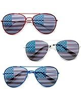 "MJ EYEWEAR""USA"" 3 PACK American Flag Aviator Sunglasses Red White and Blue Combo"