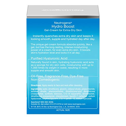 Neutrogena Hydro Boost Hyaluronic Acid Hydrating Face Moisturizer Gel-Cream to Hydrate and Smooth Extra-Dry Skin, 1.7 oz by Neutrogena (Image #8)