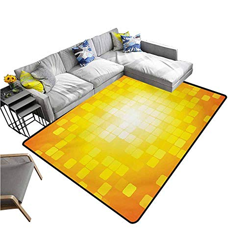 Floor Mat for Toilet Non Slip Yellow,Mosaic Retro Square Shapes and Patterns Pixels Rays Contemporary Graphic Design,Orange Yellow 60